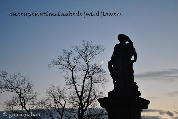 Statue, Moon, and Creepy Trees at Ksiaz Castle
