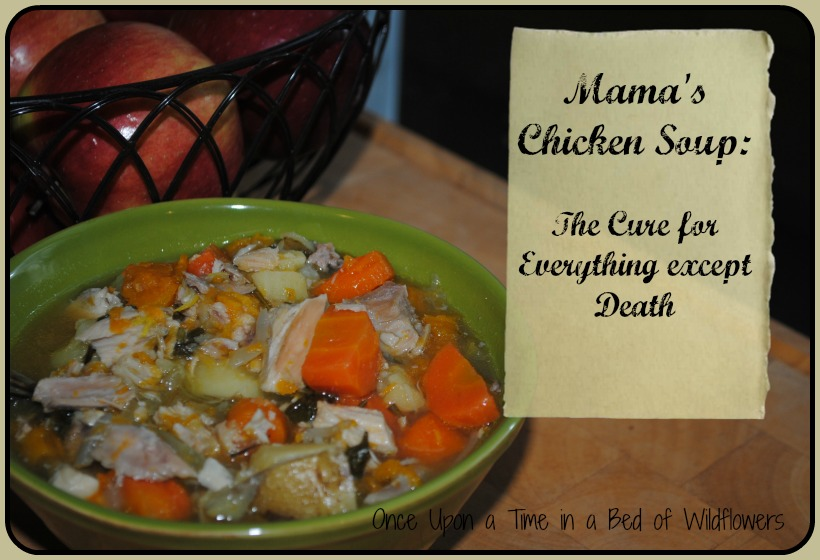 Have a cold? A broken heart? It's raining outside? Try a nice, comforting bowl of Mama's Chicken Soup from Once Upon a Time in a Bed of Wildflowers