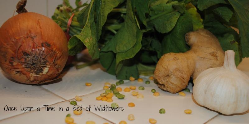 split peas ingredients shot
