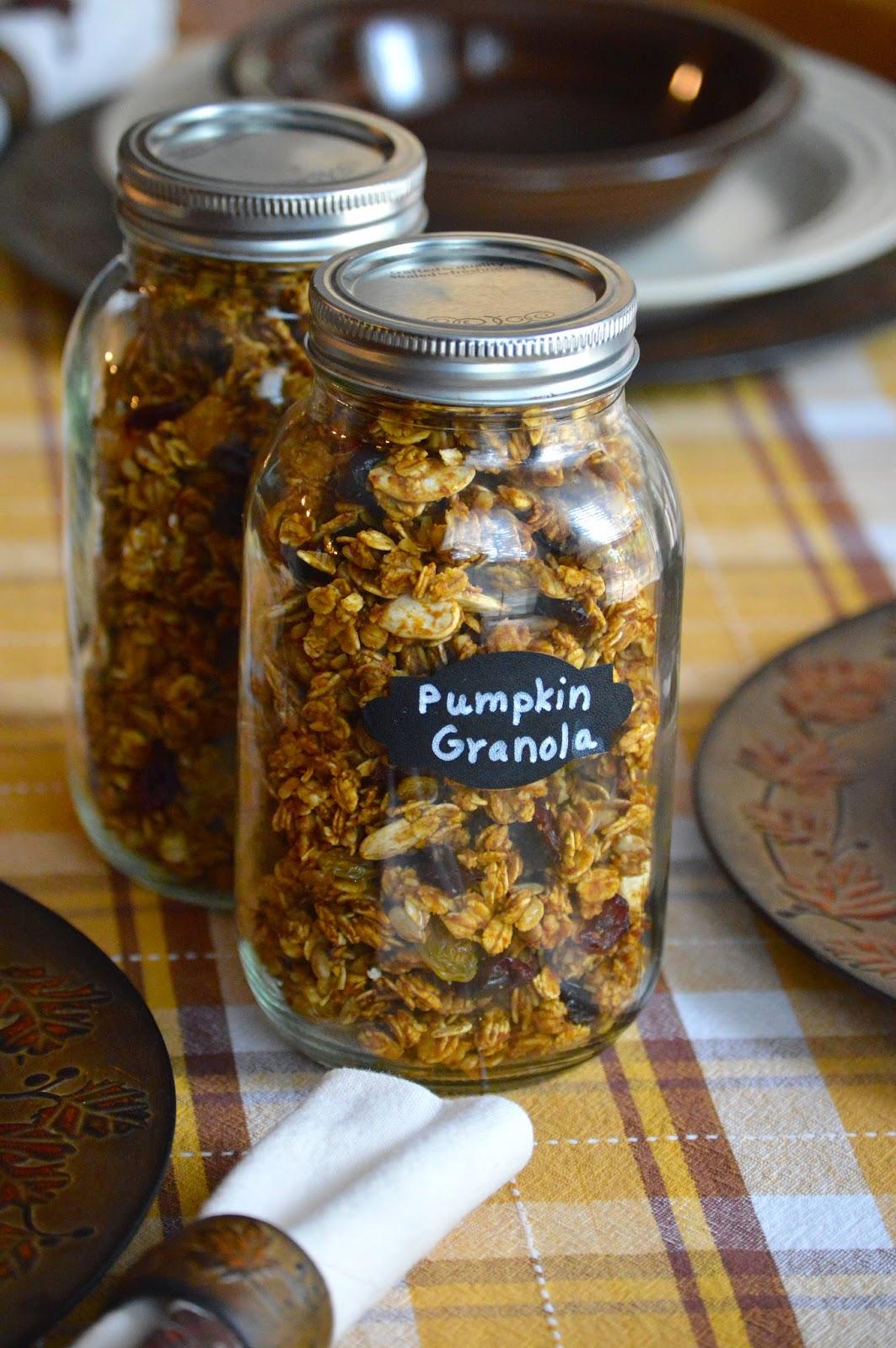 Pumpkin Granola from Heritage Schoolhouse -- Featured Post from the From the Farm Blog Hop via Once Upon a Time in a Bed of WIldflowers