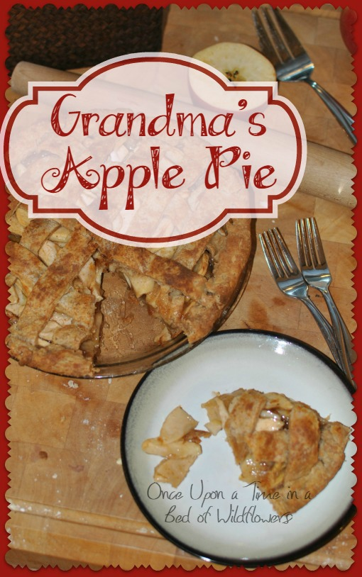 "Grandmas Apple Pie -- A delicious real food apple pie, plus ""grandma tips"" for the perfect pie crust. Via Once Upon a Time in a Bed of Wildflowers"