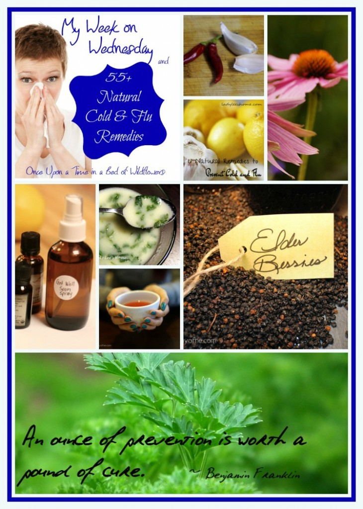 Looking for Natural Remedies for Colds and Flu? Check out this great list from Once Upon a Time in a Bed of Wildflowers