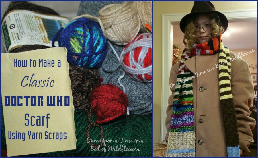 Make a Classic Doctor Who Scarf using leftover scraps of yarn // Once Upon a Time in a Bed of Wildflowers