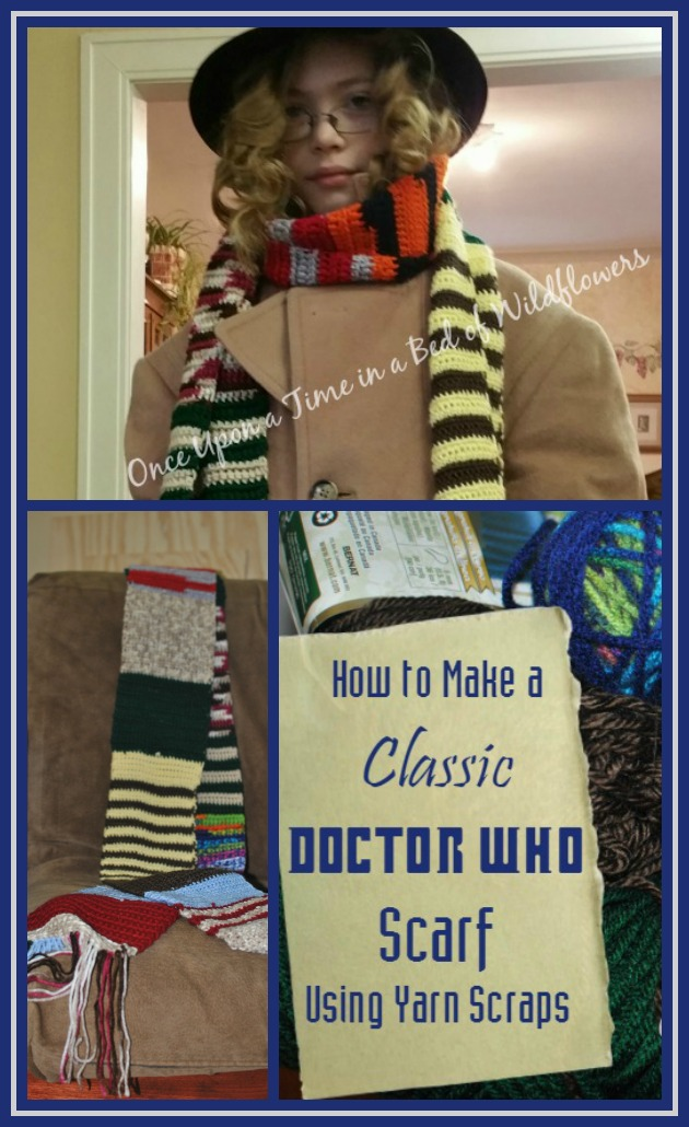 How to make a Classic Doctor Who Scarf using yarn scraps/Once Upon a Time in a Bed of Wildflowers
