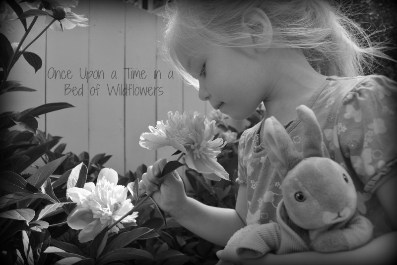 Pixie in the Peonies (B&W) // Thousand Word Thursday // Once Upon a Time in a Bed of Wildflowers