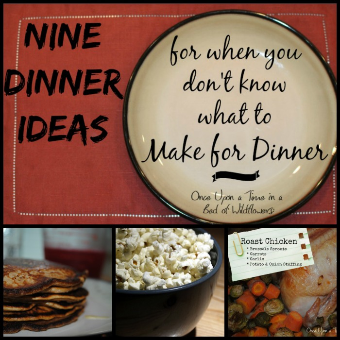 Do you know that feeling when you have NO idea what you're going to make for dinner? Here are 9 ideas and none of them involve a take-out menu! Via Once Upon a Time in a Bed of Wildflowers